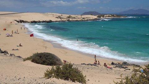 Landscape of sand dunes in Parque Natural de Corralejo, Canary Islands, Fuerteventura Island, Spain