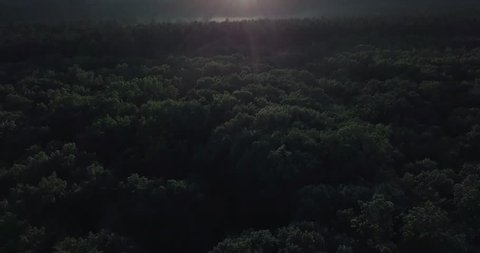 Ariel drone shot of sunset over New England with clouds and fog and trees, Ariel view of fog in trees with sunset in the summer. long panning shot of sunset in New England.