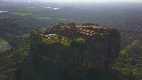 Aerial view of Sigiriya rock Sri Lanka drone footage