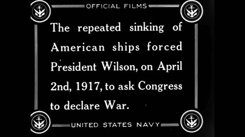 CIRCA 1917 - After America declares war on Germany, the US Navy sails out to join a British fleet. King George meets some of the sailors.