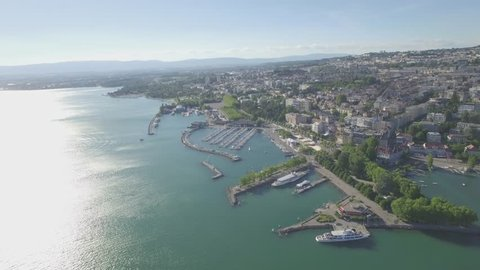 4K ungraded Aerial footage of Ouchy Lausanne in Switzerland -UHD