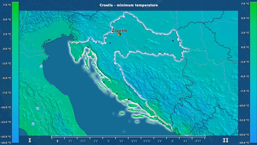 Minimum temperature by month in the Croatia area with animated legend - English labels: country and capital names, map description. Stereographic projection