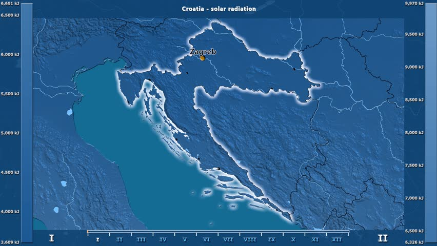 Solar radiation by month in the Croatia area with animated legend - English labels: country and capital names, map description. Stereographic projection