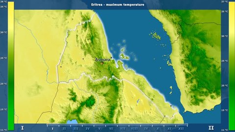 Maximum temperature by month in the Eritrea area with animated legend - English labels: country and capital names, map description. Stereographic projection