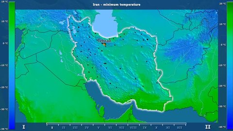 Minimum temperature by month in the Iran area with animated legend - English labels: country and capital names, map description. Stereographic projection