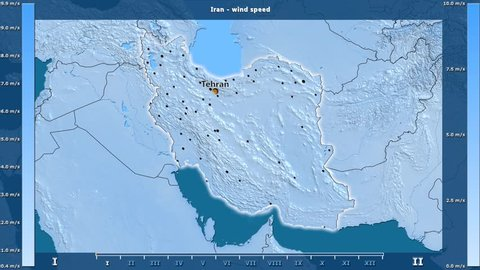 Wind speed by month in the Iran area with animated legend - English labels: country and capital names, map description. Stereographic projection
