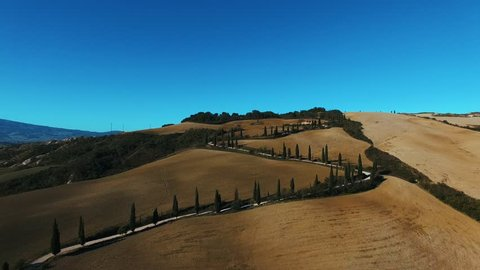 Typical landscape of hills in Tuscany, Italy. Aerial view