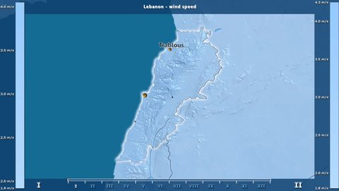 Wind speed by month in the Lebanon area with animated legend - English labels: country and capital names, map description. Stereographic projection