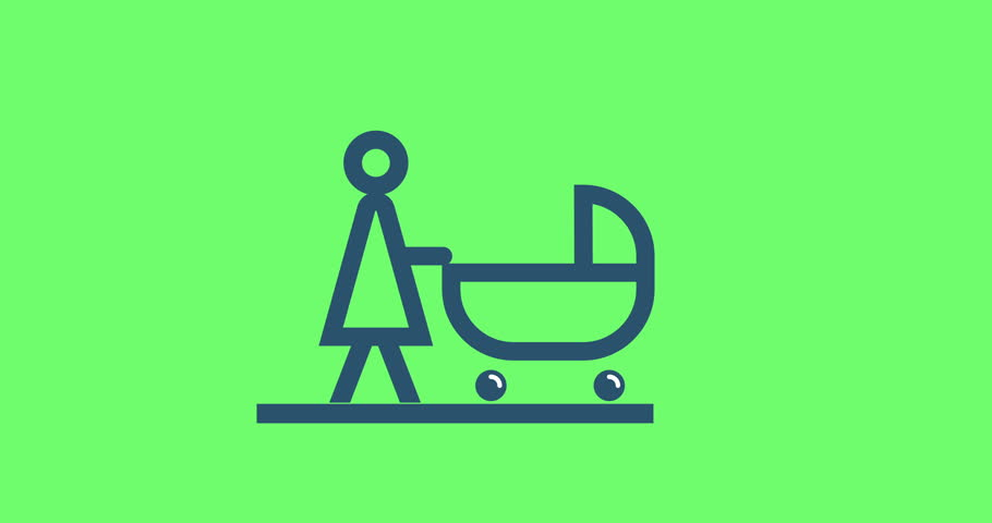 Animation pictogram mother with baby stroller.  | Shutterstock HD Video #1013651621