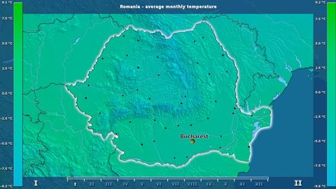 Average temperature by month in the Romania area with animated legend - English labels: country and capital names, map description. Stereographic projection