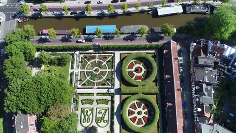 Aerial static footage of the Prinsentuin in English Prince's garden or Prinsenhoftuin is garden built in renaissance style that is located in Groningen behind Prinsenhof in northern part of Holland 4k
