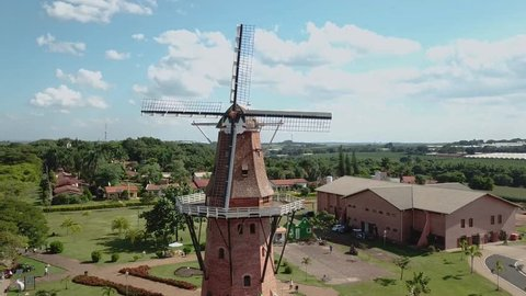 Aerial footage of Dutch windmill set in beautiful nature