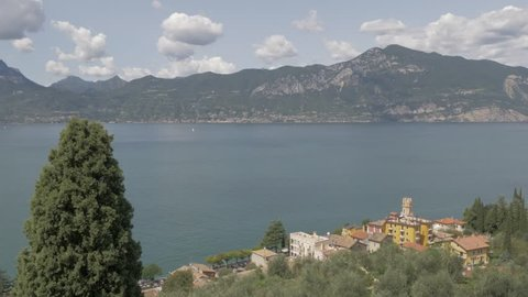 View of The Tower of Pai from Albergo S. Marco and Lake Garda, Province of Trento, Italy, Europe