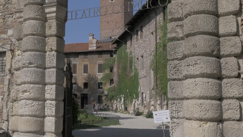 View of entrance to Olympic Theater, Vicenza, Veneto, Italy, Europe