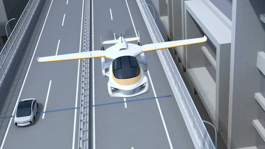 Futuristic flying car flying over highway. Fast transportation without traffic jam concept. 3D rendering animation.
