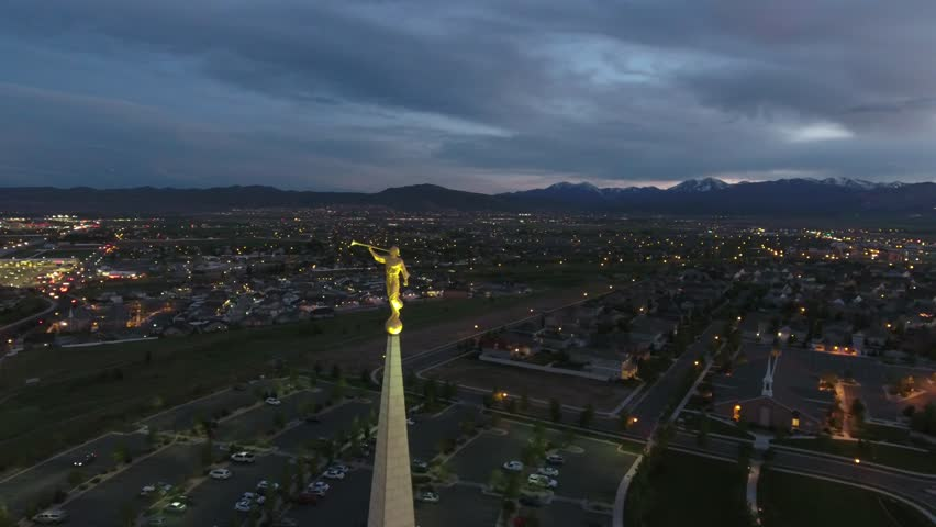 Aerial view of Angel Moroni on LDS Oquirrh Mountain Temple