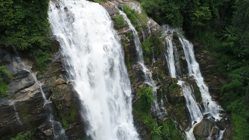Aerial view of Wachirathan waterfall at Doi Inthanon National Park mountain. Located in Chiang Mai, Thailand.