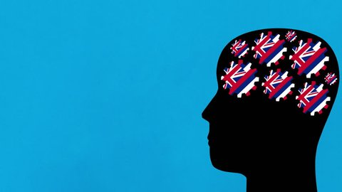 Turning Hawaii US state flag gears in human head profile moving from right to left