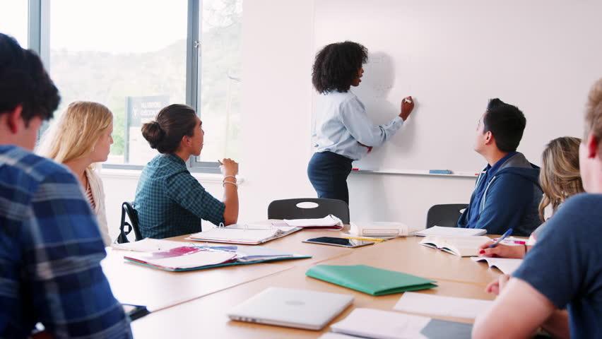 Female High School Tutor At Whiteboard Teaching Maths Class | Shutterstock HD Video #1013865671