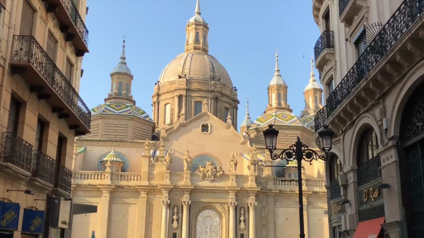 Sunset at the Cathedral of the Pillar in Zaragoza,Spain