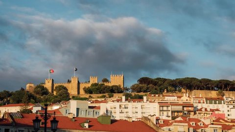 Cloudy timelapse of Saint George Castle at sunset