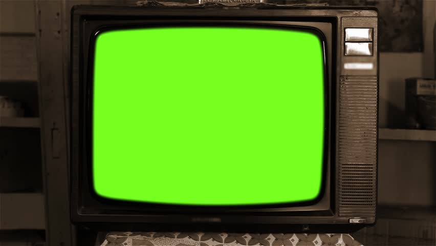80s Television with Green Screen. Sepia Tone.  | Shutterstock HD Video #1013886821