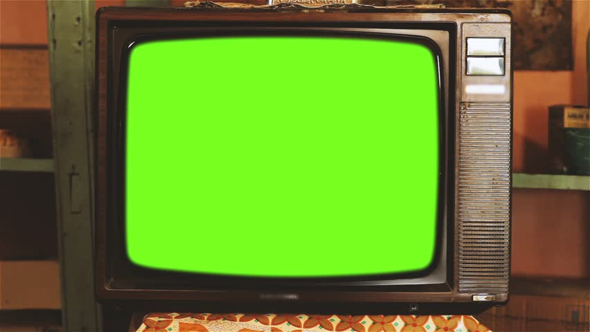 80s Television with Green Screen. Red Soft Tone. | Shutterstock HD Video #1013886881