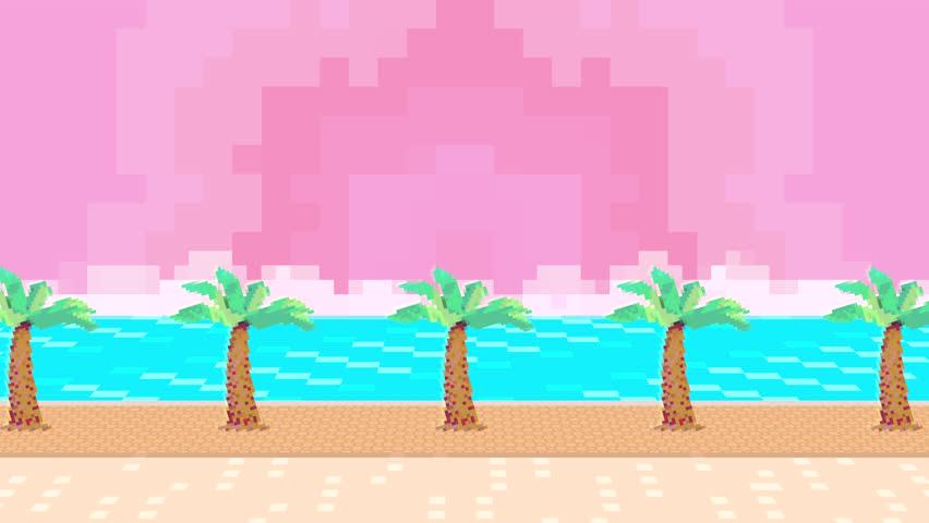 8 bit pixel art style beach background. (Looped) | Shutterstock HD Video #1013891321