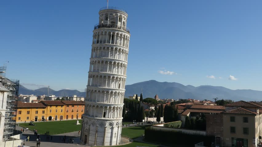Aerial footage drone view of Pisa Tower in Italy// no video editing
