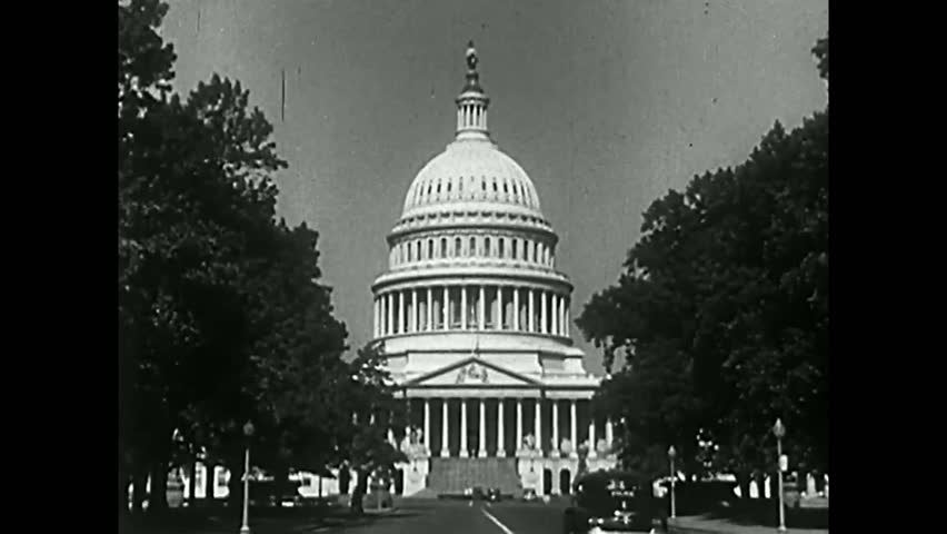 CIRCA 1950s - The US capitol, city streets, a grocery store, national brands, a union, newspapers, a church, and workers are shown in 1951.
