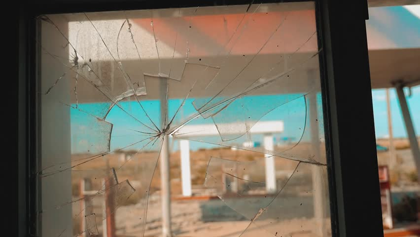Route 66. crisis road 66 fueling broken window slow motion video. Old dirty deserted gas station. U.S. closed supermarket store shop Abandoned gas station oil end of fuel the world apocalypse petrol | Shutterstock HD Video #1013967101