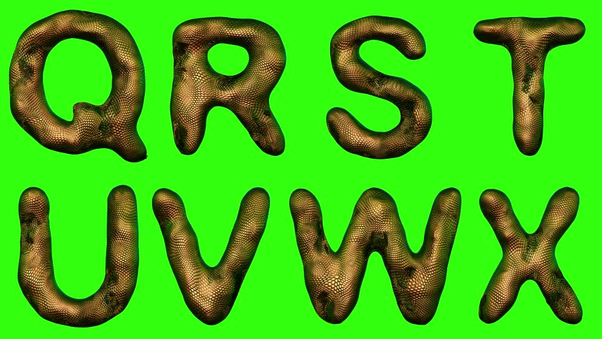 Alphabet from snake skin isolated on green background. The letter Q R S T U V W X gold color. alpha channel 3d rendering 4K