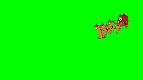 Santa Claus is quickly galloped with reindeer on Christmas sleigh. Hand drawn animation. Original file 4K has alpha channel