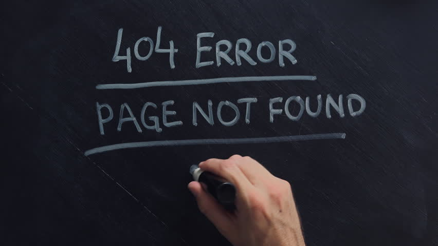 404 error internet page not found, hand writing on blackboard