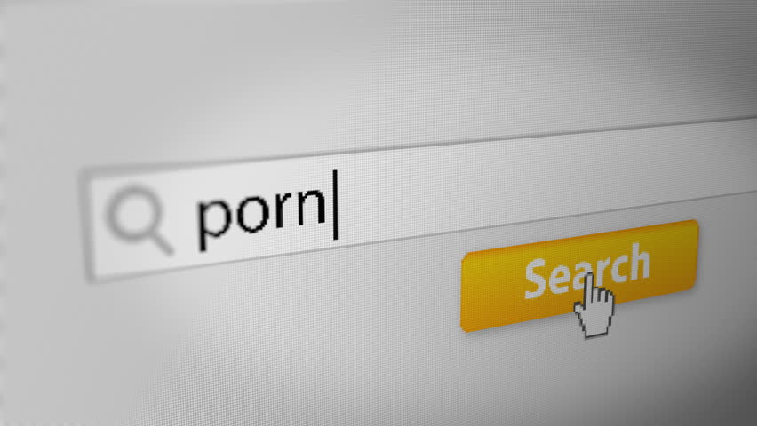 """porn"" Typing into Search Engine on Computer Screen. Internet Search Engine Screen Close-Up."