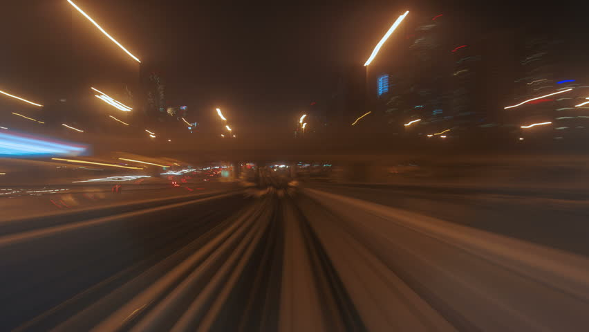 View from windshield window of the first wagon of night Dubai metro time-lapse | Shutterstock HD Video #1014045881