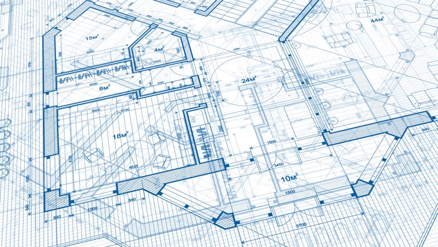 Architecture design: blueprint plan - vector illustration of a plan modern residential building  | Shutterstock HD Video #1014048011