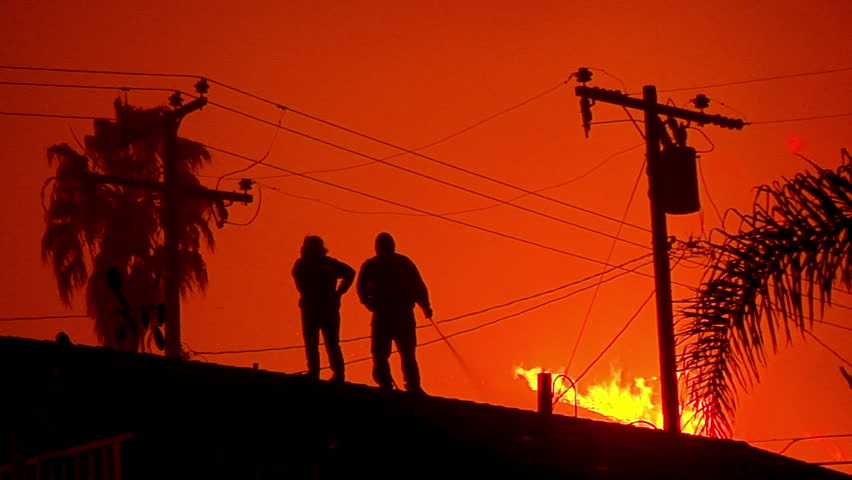 2017 - residents water down their homes, roofs and yards as the Thomas fire approaches in the hills of Ventura and Santa Barbara.