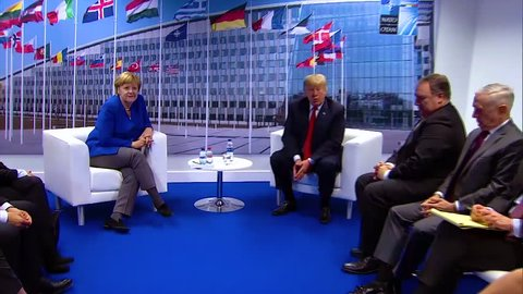 2018 - a press conference media event with U.S. President Donald Trump and German Prime Minister Angela Merkel.