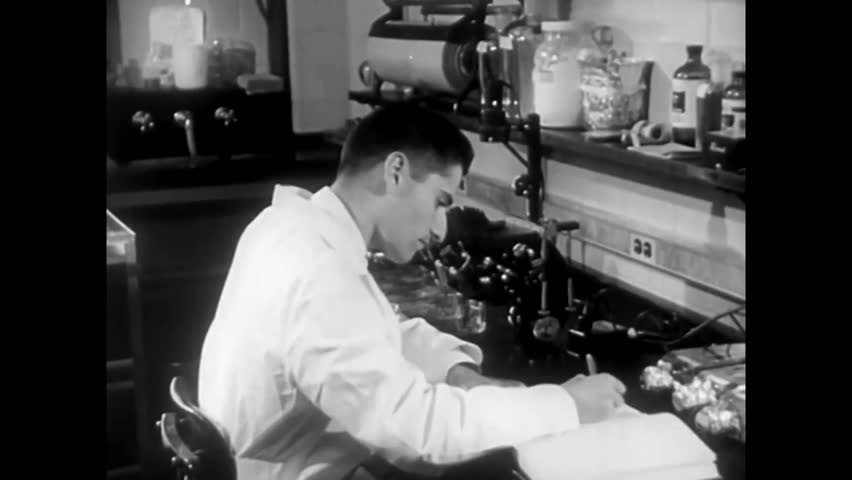 CIRCA 1950s - The National Institute of Health researches polio in 1956.