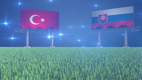3d animated soccer ball bouncing in front of billboards with the flags of Turkey and Slovakia with flickering lights in the background in 4K resolution