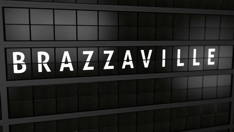 3D generated animation, analog flight information display board with the arrival city of Brazzaville, Congo