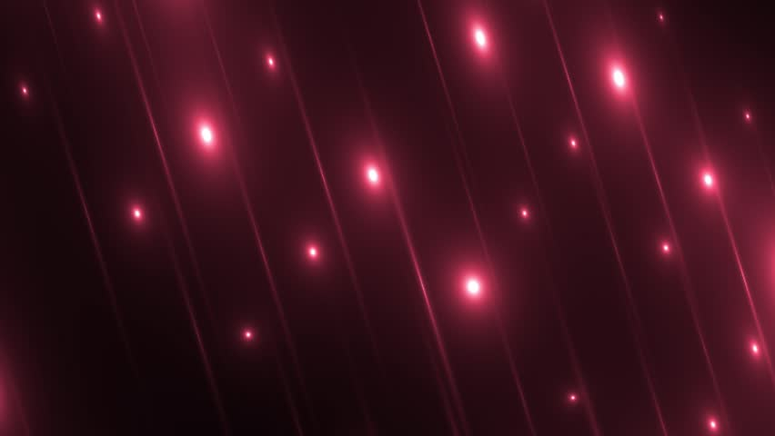 Disco spectrum lights concert spot bulb. Abstract motion background in red colors, shining lights, energy waves and sparkling particles. Seamless loop.