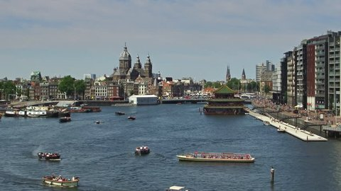 View of the Oosterdock area nearby Central Station in Amsterdam