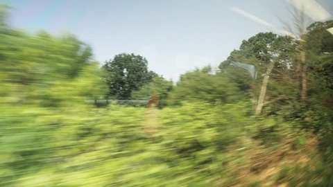 View from train window in england through countryside