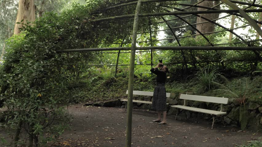 4k beautiful girl in black handmade dress standing inside of oval summer garden metal arbor construction shooting photo with dsl premium objetive in slow motion round moving motion camera #1014215501