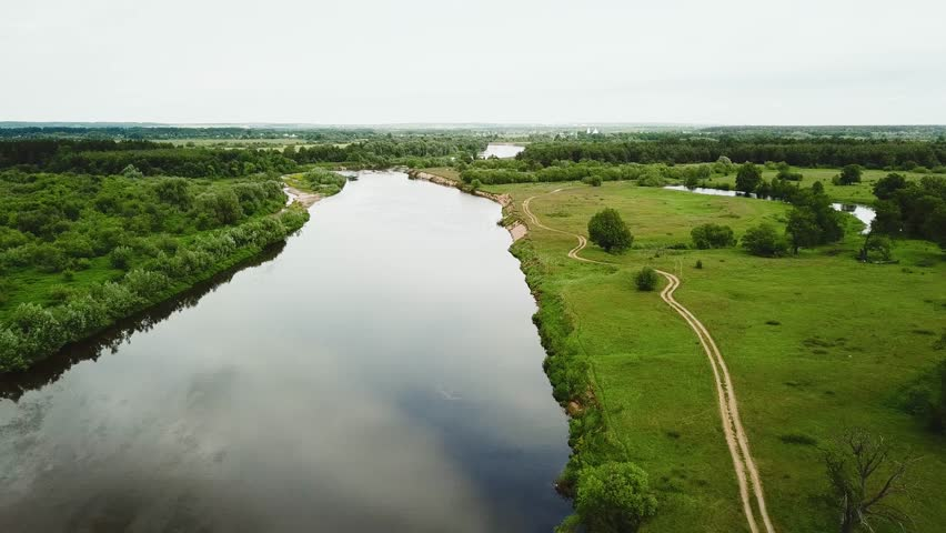River between green fields and forest, aerial shot