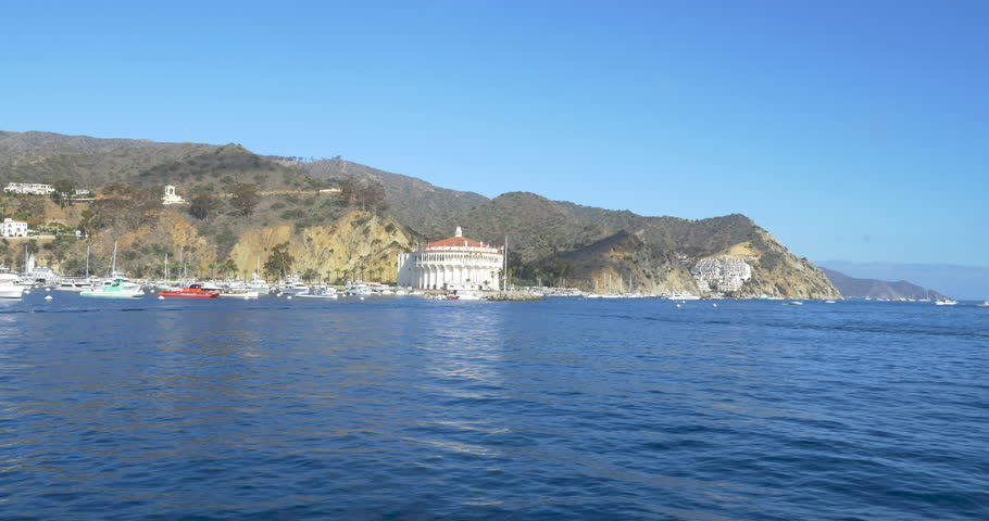Bay and town of Avalon on Catalina Island. Boat fill the harbor