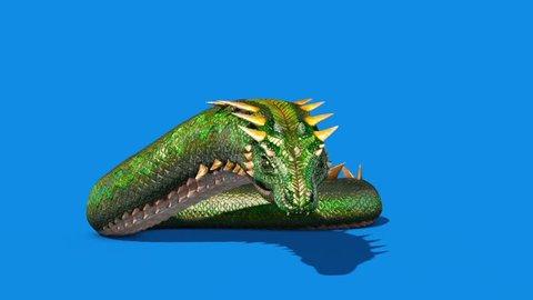 Mythological SNAKE Monster Dragoon Jump Blue Screen 3D Rendering Animation