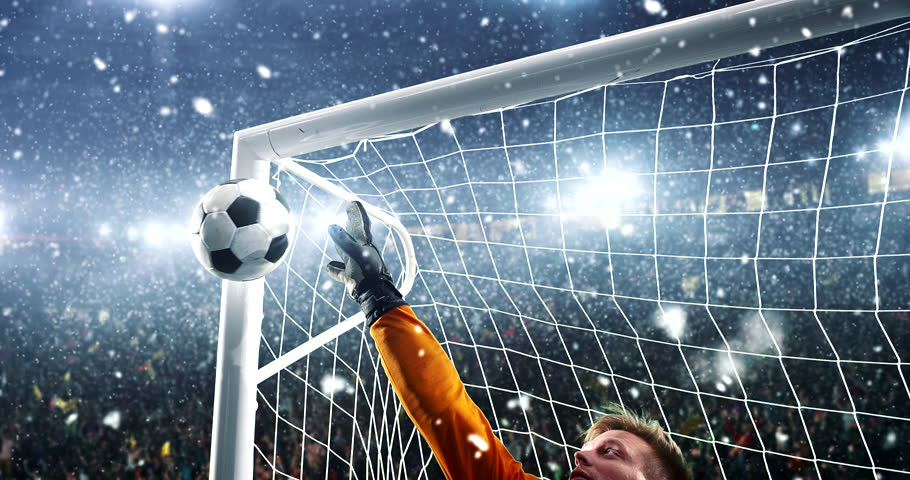 Goalkeeper shows great save from a goal on a professional soccer stadium while it's snowing. Stadium and crowd are made in 3D and animated. #1014313331